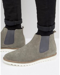 Asos Chelsea Boots In Gray Suede With White Sole