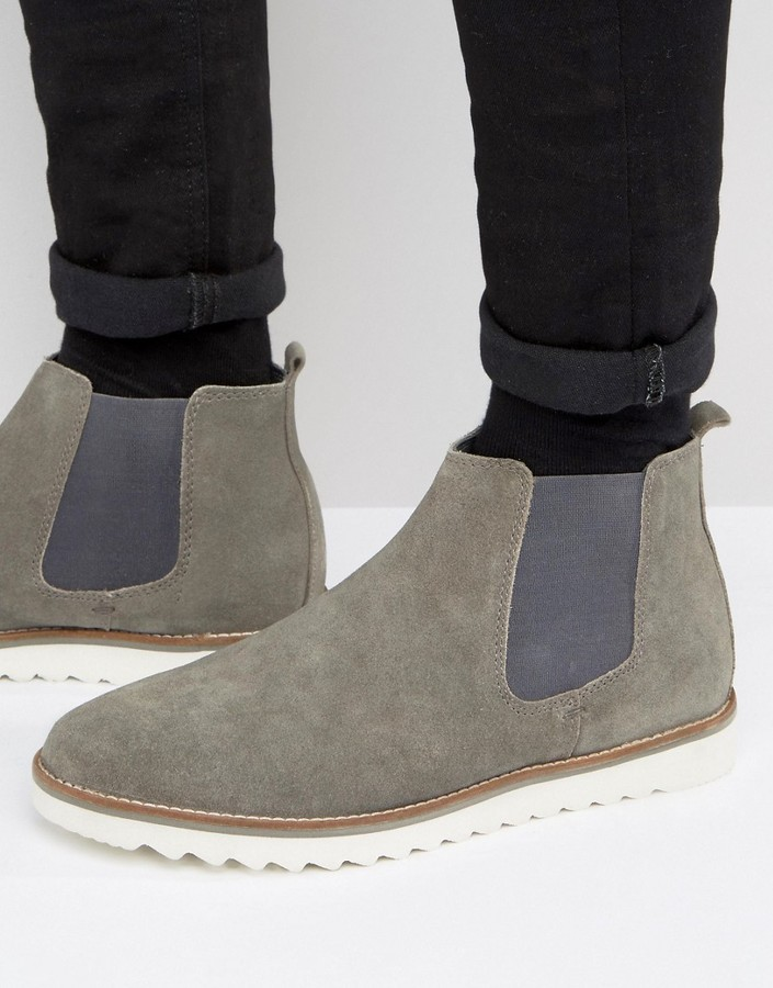 Asos Chelsea Boots In Gray Suede With