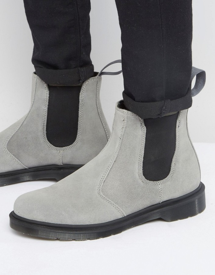 ... Dr. Martens Dr Martens 2976 Chelsea Boots In Gray Suede ... 36ae683ab08b