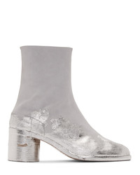 Maison Margiela Grey And Silver Suede Tabi Boots
