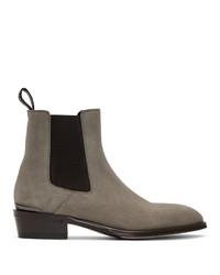 Alexander McQueen Grey Suede Chelsea Boots