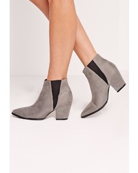 Missguided Grey Faux Suede Pointed Toe Chelsea Boots