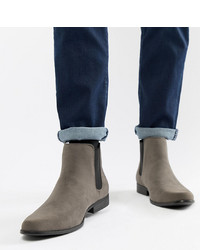 ASOS DESIGN Wide Fit Chelsea Boots In Grey Faux Suede
