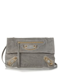 Classic metallic edge suede envelope clutch medium 720439