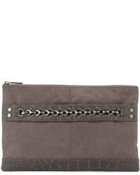 Neiman Marcus Crocodile Embossed Large Evening Clutch Bag Charcoal