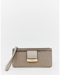 Dune Slim Foldover Purse In Taupe Metallic