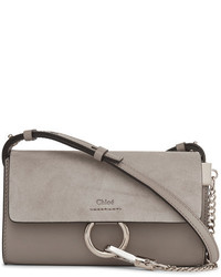 Faye mini leather and suede shoulder bag gray medium 954150