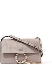 Faye small leather and suede shoulder bag gray medium 954149