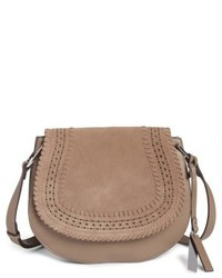 Kirie suede leather crossbody saddle bag grey medium 4913193