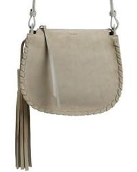 Mori suede crossbody bag grey medium 4136480
