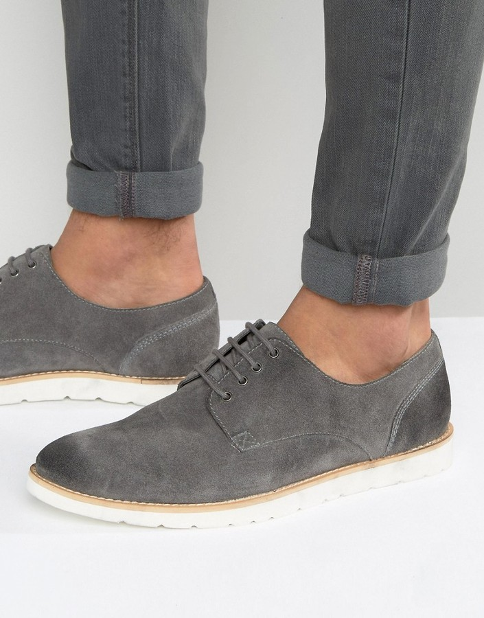 dad9eae03ed0 ... Frank Wright Derby Shoes In Gray Suede ...
