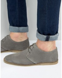 Asos Derby Shoes In Gray Suede With Piped Edging