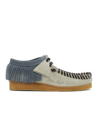 Palm Angels Grey And Black Clarks Originals Edition Fringed Wallabee Moccasins