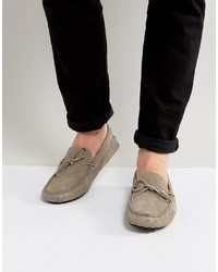 Asos Driving Shoes In Gray Suede With Tie Front