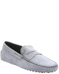 Tod's Grey Suede Moc Toe Penny Driving Loafers