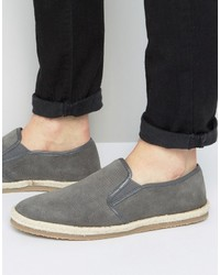 Frank Wright Slip On Espadrilles Shoes Gray Suede