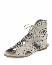 Fabienne lace up flat sandal gray medium 949558