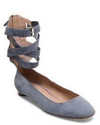 Valentino Suede Ankle Wrap Flats