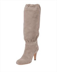 Chloe suede 90mm knee boot ship gray medium 692792