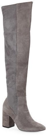 2721b004548 Darla Over The Knee Suede Block Heel Boots. Grey Suede Knee High Boots by Cole  Haan