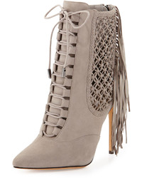 Suede fringe lace up point toe ankle bootie gray medium 126963