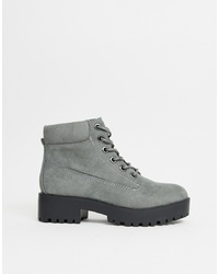 New Look Chunky Lace Up Flat Boot In Mid Grey