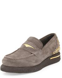 Versace Embellished Suede Platform Loafer Graymetallic