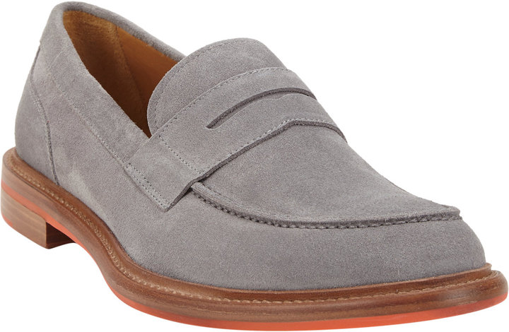046a20d70c1 ... Barneys New York Suede Apron Toe Penny Loafers Grey