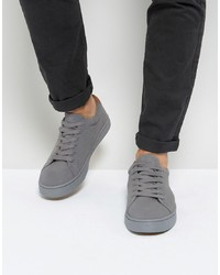 ... ASOS DESIGN Lace Up Trainers In Grey Real Suede deb17ec12