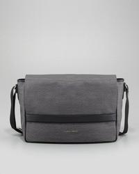 Grey Suede Messenger Bag