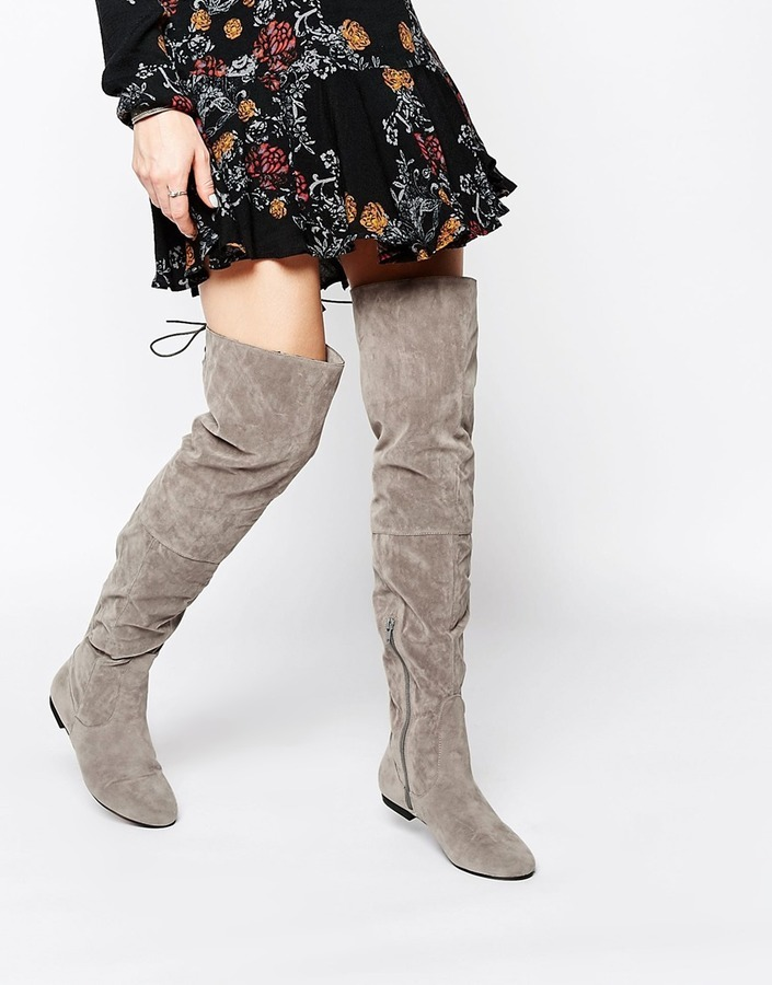 Daisy Street Gray Over The Knee Tie Back Flat Boots | Where to buy ...