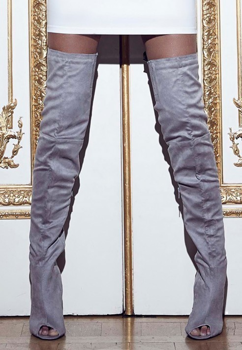 Missguided Peace Love Over The Knee Peep Toe Boots Grey | Where to ...
