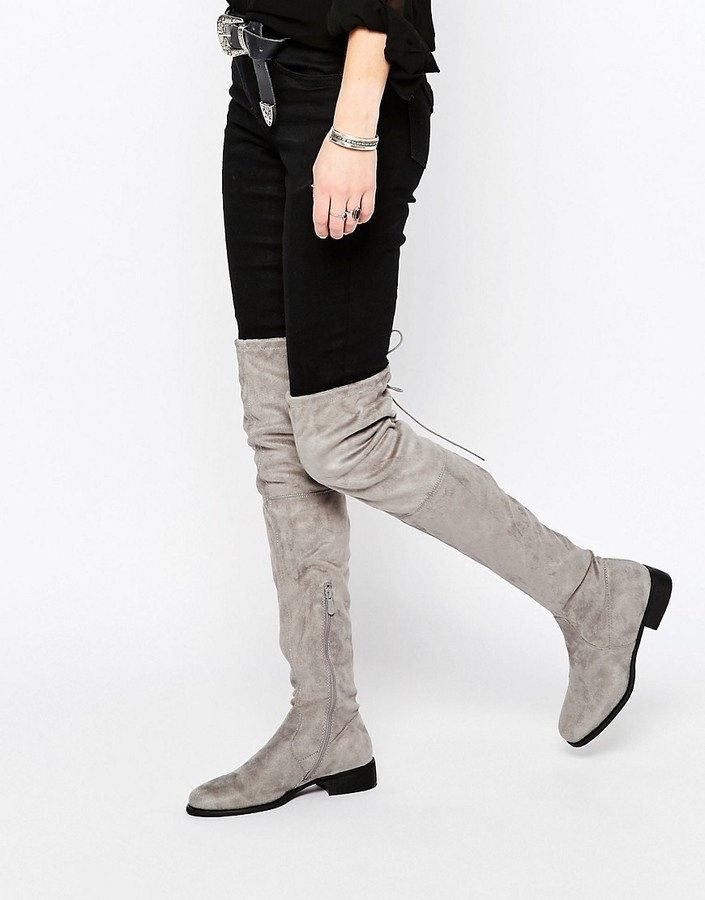 b35825c437c ... Public Desire Gray Flat Tie Back Over The Knee Boot ...