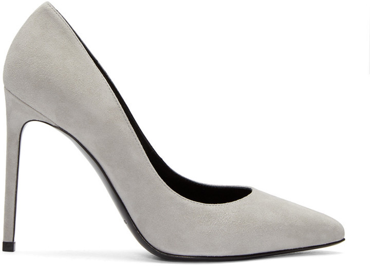 6701203783e Saint Laurent Grey Suede Paris Heels, $595   SSENSE   Lookastic.com