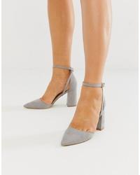 RAID Katy Grey Block Heeled Shoes