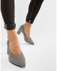 Glamorous Point Block Heeled Shoes In Grey