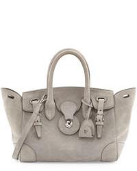 Soft ricky 27 suede satchel bag gray medium 100387