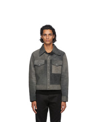 Maison Margiela Black Leather And Suede Sport Jacket