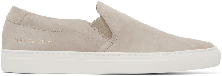 375a816b4373 Common Projects Beige Suede Slip On Sneakers, $415 | SSENSE ...