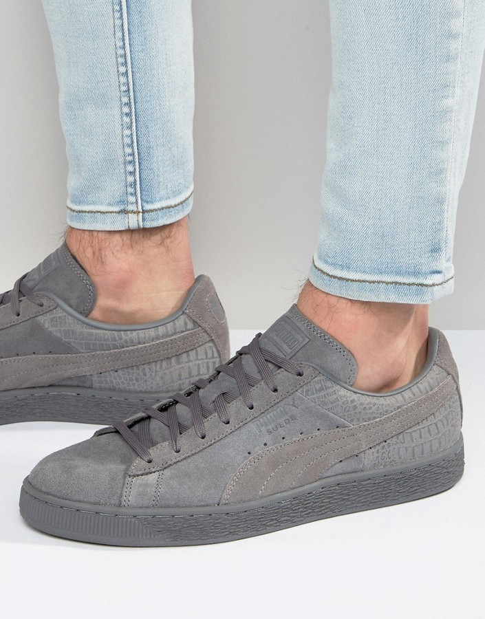 new arrival ec0f6 ca6ef $91, Puma Suede Classic Casual Emboss Sneakers In Gray 36137205