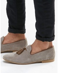 Asos Brand Tassel Loafers In Gray Suede With Natural Sole