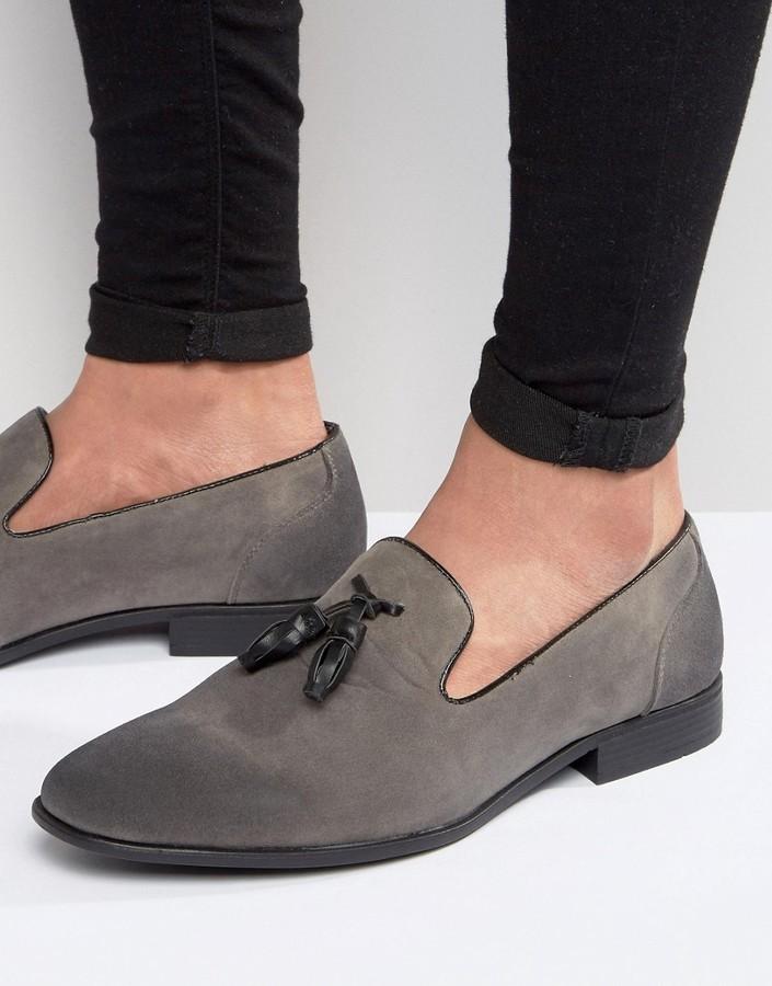 Asos Tassel Loafers In Gray Faux Suede
