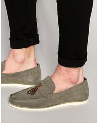 Asos Tassel Loafers In Gray Suede With White Sole