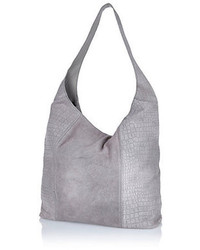 River Island Grey Suede Croc Textured Slouch Bag