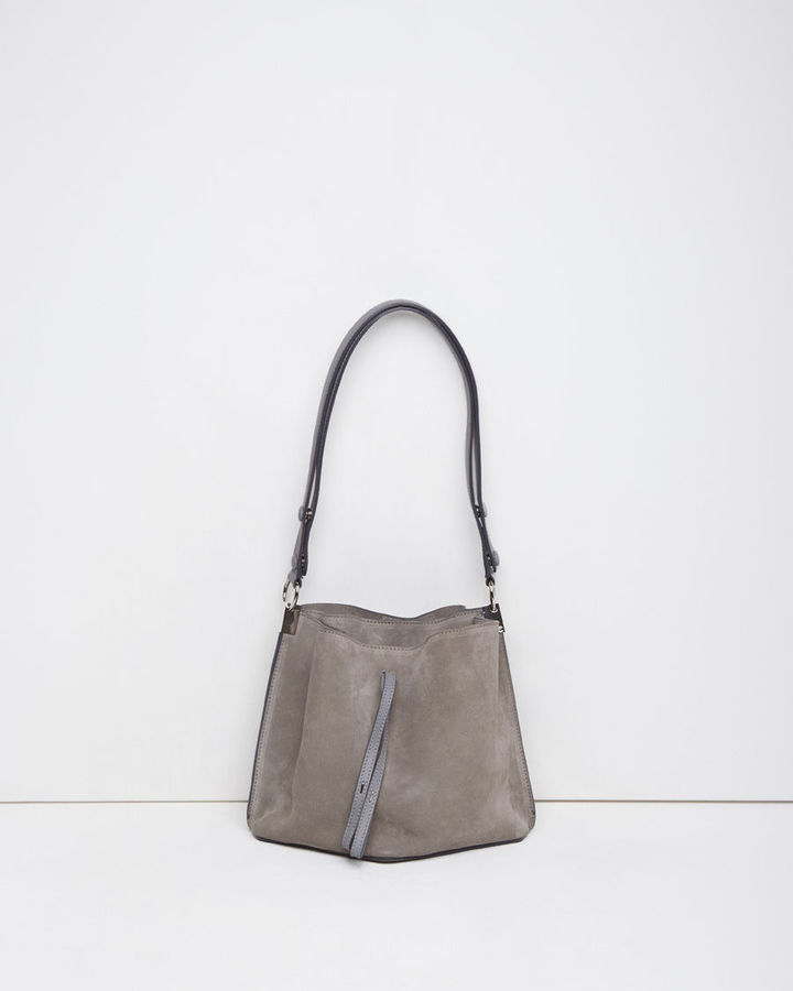 e174be3d3c ... Grey Suede Tote Bags Maison Martin Margiela Line 11 Suede Offset Shoulder  Bag ...