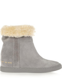 Common Projects Faux Shearling Lined Suede Wedge Ankle Boots