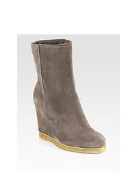Stuart Weitzman Bootscout Suede Mid Calf Wedge Boots Taupe