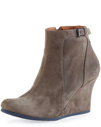 Lanvin Suede Wedge Ankle Boot Gray
