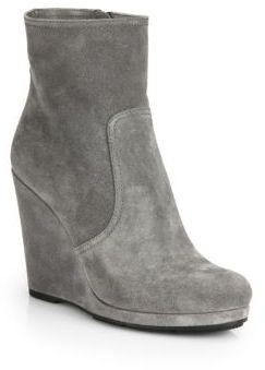 daa78ac121b $690, Prada Suede Wedge Ankle Boots