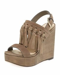 Nya suede fringe wedge sandal medium 4471502